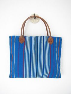 Essential Every Day Bag | Handwoven | Blue Stripes | Chiapas Bazaar | Handmade Mexican Blouses, Accessories & Home Decor from Rural Artisans