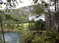 eco-architecture, Norway, Knut Slinning, Jensen & Skodvin, eco-tourism, eco-hotel, boutique hotel, nature, national tourist route, pine, stilts, cabins