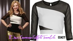 Dove as Liv wore this top in promotional photos for Liv & Maddie/the Sing It Loud posters used in the show Topshop Black Slashed Mesh Crop Top Sold out Available on Poshmark in size 4 for $20/$25