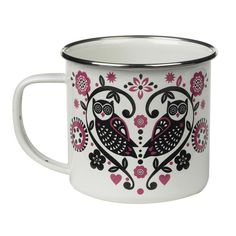 Bring a whimsical touch to your table with the Folklore Enamel Mug from Wild & Wolf. Perfect for sipping tea or coffee, it features a beautifully stylized owl motif.