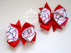 Baseball Hair Bow This listing is for 2 hair bow clips, approx 3-3.5