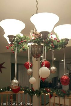Table chandelier decor. What a cute idea. Will have to do at my Moms house for our annual Christmas Eve.
