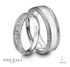 Kirk Kara Charlotte Collection platinum and diamond women's wedding band and platinum satin finish Artin Collection wedding band.