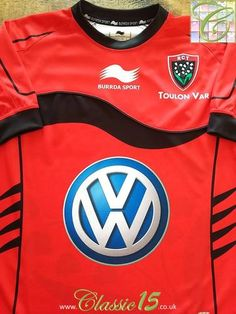 Relive Toulonnais' season with this original Burrda Sport home rugby shirt. Rugby Shirts, Sports Shirts, Rugby Kit, England National Team, Challenge Cup, League Table, Volkswagen Logo, Black Trim, Colorful Shirts
