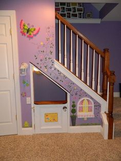 Playhouses under the stairs. Great idea to bring the fun indoors. http://hative.com/cool-indoor-playhouse-ideas-for-kids/