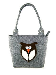 Owl handbag Felt purse Bag for women Gray bag Felt bag Designer handbag Felt shoulder bag Modern
