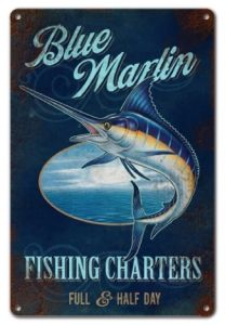 RG11F Blue Marlins Fishing Charters Sign -