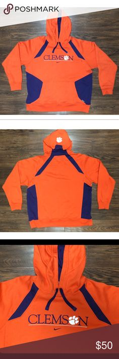 Nike Mens Clemson Tigers Vintage Pullover Hoodie Nike Men's Clemson Tigers Vintage Pullover Hoodie Orange Size XL   Brand : Nike   Size : Men's XL   Color : Orange   Material : 80% Polyester. 20% Cotton   Drawstring fastening for the hoodie   Front kangaroo pocket   Clemson logo on the back of the hood   In great condition Nike Jackets & Coats Performance Jackets
