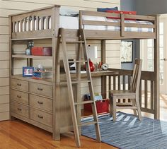 Full Loft Bed with Desk Top