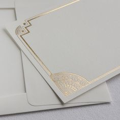 Boxed gold foil art deco thank you cards are perfect for an art deco or Gatsby inspired wedding!