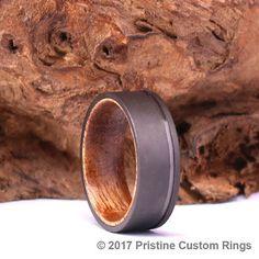 Koa Wood Sand Blasted Gun Metal Grey Men's Band 8mm With Pipping Mens 8mm Wedding Band Custom Wedding Band Rings By Pristine