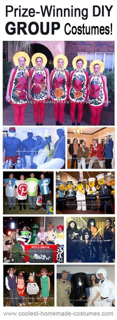 Homemade Group Costumes that Really Won Prizes in Local DIY Halloween Costume Contests! Halloween Costume Contest, Halloween Kostüm, Holidays Halloween, 4 People Halloween Costumes, Couple Halloween, Creative Costumes, Cute Costumes, Group Costumes For 4, Costume Ideas