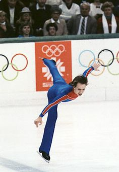 Scott Hamilton wins a gold medal for figure skating at the 1984 Olympics in Sarajevo.