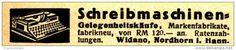 Original-Werbung/ Anzeige 1933 - SCHREIBMASCHINEN / WIDANO - NORDHORN ca. 70 x 10 mm