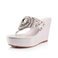 Sandals - $94.99 - Leatherette Wedge Heel Sandals Flip-Flops With Rhinestone Imitation Pearl shoes (087049298) http://jjshouse.com/Leatherette-Wedge-Heel-Sandals-Flip-Flops-With-Rhinestone-Imitation-Pearl-Shoes-087049298-g49298