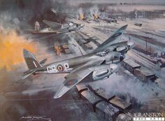 Mosquito Sting by Michael Turner. De Havilland Mosquitos deliver a stunning blow to enemy supply lines in a low level attack on the marshalling yards at Ehrang on April 1st 1943.