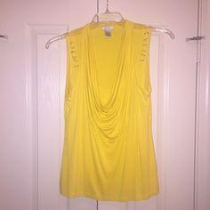 Top Yellow scoop neck sleeveless top Cache Tops Blouses