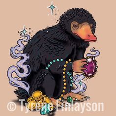 Tattoo Design by Tyrene Finlayson, please don't copy  Instagram @art_ty_stique would love to tattoo this  Niffler, fantastic beasts. Harry Potter