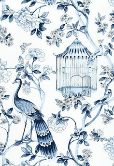Lynn Chalk - Schumacher Wallpaper Oiseaux et Fleurs Porcelain, $198.45 (http://store.lynnchalk.com/schumacher-wallpaper-oiseaux-et-fleurs-porcelain/)