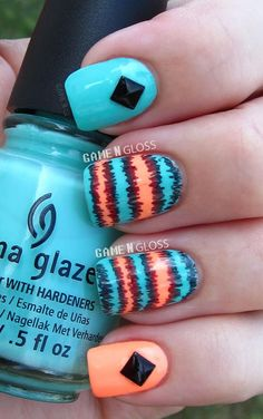 neon sharpie summer nails  - IG gamengloss FB GAME N GLOSS