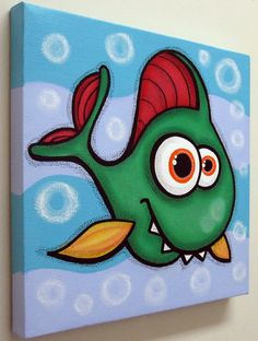 would love to swim around your room! measures 12x12x1/2 check out my brothers Thanks Fish Wall Art, Fish Art, Acrylic Painting Canvas, Fabric Painting, Kids Canvas, Canvas Art, Painting For Kids, Art For Kids, Fishing Nursery