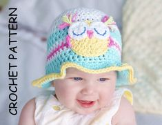 CROCHET HAT PATTERN - Fun in the sun! Baby hat pattern, Baby Owl Hat Pattern Crochet Owl Hat Pattern cotton hat pattern  Baby owl hat, easy