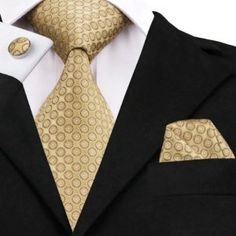 Hi-Tie Silk Men Tie Set Floral Yellow Gold Ties and Handkerchiefs Cufflinks Set Men's Wedding Party Suit Fashion Neck Tie Pocket Square Styles, Tie And Pocket Square, Pocket Squares, Mens Gold Tie, Mens Silk Ties, Polka Dot Tie, Gold Polka Dots, Party Suits, Cufflink Set