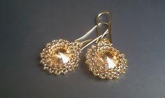 Swarovski, 24kt gold plate earings