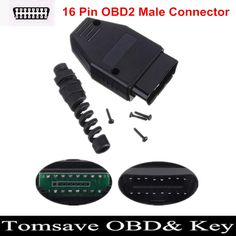 Free Shipping 16Pin OBD2 OBDII Male Connector OBD 16Pin Plug Adapter Wiring Connector Diagnostic Tool #Affiliate