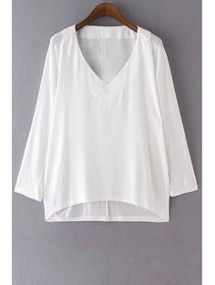 Pure Color V-Neck Long Sleeves T-Shirt - WHITE S Mobile
