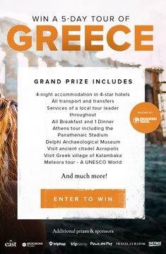 Win Trip To Greece! Prize includes: accommodation in hotels All transport and transfers Services of a local tour leader throughout All Breakfast and 1 Dinner Athens tour including the Panathenaic Stadium Delphi. Greece Travel, Greece Trip, The Places Youll Go, Places To Go, Local Tour, Win A Trip, Look Here, Dream Vacations, Travel Guides
