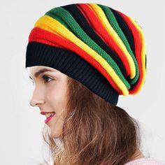 90d659b28d7 Jamaican Women Chunky Baggy Beanie Hat Skull Cap Winter Cool Soft ...