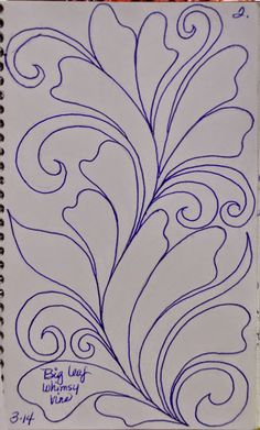 like to warm up before I begin sketching or stitching. My warm up design is usually a feather or leafy vine lik.I like to warm up before I begin sketching or stitching. My warm up design is usually a feather or leafy vine lik. Patchwork Quilting, Quilt Stitching, Longarm Quilting, Free Motion Quilting, Quilting Stencils, Quilting Templates, Quilting Projects, Quilting Ideas, Machine Quilting Patterns