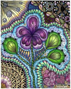 Flower Dance coloring page  by carolynboettner, via Flickr. all done with Derwent soft colour colored pencils & General Kimberlys Water color pencils ( used dry )