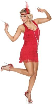Red Lindy and Lace Flapper Costume - Sexy Costumes