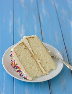 Fluffy Vanilla Cake with Whipped Vanilla Bean Frosting- the BEST vanilla cake and frosting! | Kristine's Kitchen