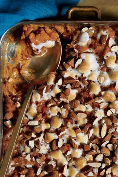 Quick Traditional Sweet Potato Casserole is ridiculously easy and goes into the oven in only 10 minutes, thanks to sweet canned yams. To boost flavor and add richness, we counter the canned spuds with luscious creme fraiche; chunks of almonds bring big brunch to our sweet potato casserole.#thanksgiving #thankgivingrecipes #thanksgivingdesserts