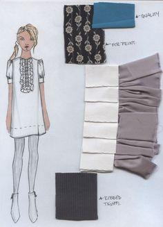 Mixed Media Ruffle front dress (Silk/Grossgrain/Jersey/Printed)