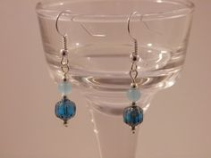 Dainty Minimalist Blue Cathedral Czech Glass Silver Earrings by TangledWireDesignsCo on Etsy