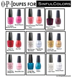 OPI Dupes For Sinful Colors.sinful colors so much cheaper! Sinful Colors Nail Polish, Nail Polish Dupes, Nail Polish Designs, Opi Nails, Cute Nail Designs, Nail Colors, Gel Polish, Manicures, Beauty Dupes