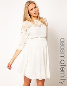 Enlarge ASOS Maternity Skater Gown With Lace Prime...that is just about the dres.... ** Discover even more by checking out the picture link Learn more at  http://us.asos.com/ASOS-Maternity-Skater-Dress-With-Lace-Top/yyt94/?iid=2507043&cid=8343&sh=0&pge=0&pgesize=20&sort=-1&clr=Cream&mporgp=L0FTT1MtTWF0ZXJuaXR5L0FTT1MtTWF0ZXJuaXR5LVNrYXRlci1EcmVzcy1XaXRoLUxhY2UtVG9wL1Byb2Qv
