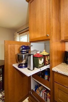 Pull-out shelves offer convenient storage for larger items