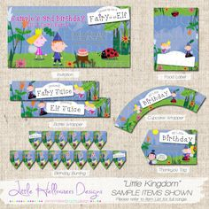 Little Kingdom Themed Party Printable Package by LittleHellraizers Boy Birthday Parties, 3rd Birthday, Birthday Ideas, Peppa Pig, Ben And Holly Party Ideas, Ben E Holly, Birthday Bunting, Bunting Banner, Food Labels
