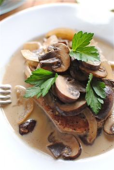 Pork Chops and Mushrooms in a White Wine Sauce