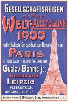 Poster promoting travel to the 1900 World's Fair in Paris.