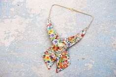 Bow Tie Collar Necklace  Ditsy Spring Floral Recycled by jessamity, $68.00