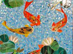 "Koi fish are the domesticated variety of common carp. Actually, the word ""koi"" comes from the Japanese word that means ""carp"". Outdoor koi ponds are relaxing. Paper Mosaic, Mosaic Crafts, Mosaic Projects, Art Projects, Patio Mosaic Ideas, Art Koi, Fish Art, Mosaic Glass, Mosaic Tiles"