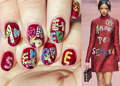 Valentine designer nails inspired by Dolce & Gabanna runway look By LookAtHerNails