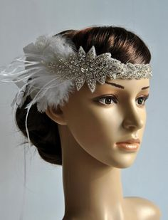 $58 from Poland? Ready to ship Beautiful Vintage Style, Great Gatsby inspirated design - flapper - rhinestone headband.  Perfect for a vintage inspired bride,