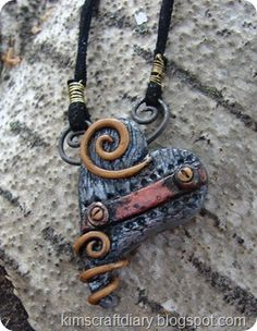 steampunk polymer clay pendant